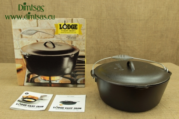 Lodge Cast Iron Dutch Oven with Spiral Bail Handle 6.6 lit