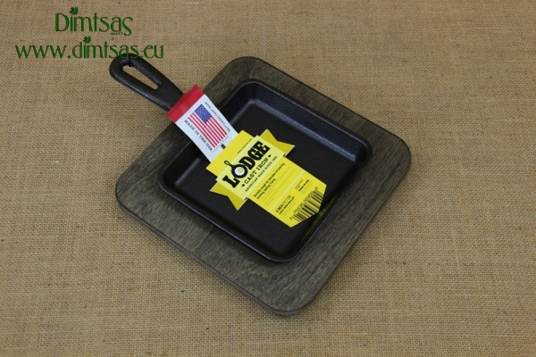 Set Cast Iron Rectangular Mini Server & Wood Underliner