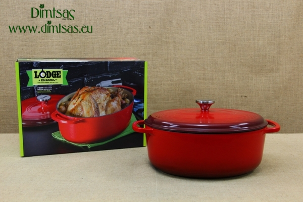Enameled Cast Iron Dutch Oven - Casserole 6.6 lt Oval Red