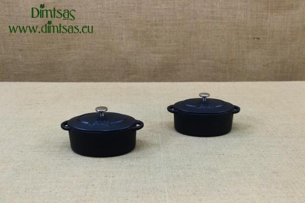 Enameled Cast Iron 10 oz. Oval Cocottes Set of 2 Black
