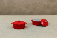 Enameled Cast Iron 10 oz. Oval Cocottes Set of 2 Red First Depiction