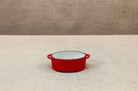 Enameled Cast Iron 10 oz. Oval Cocottes Set of 2 Red Third Depiction