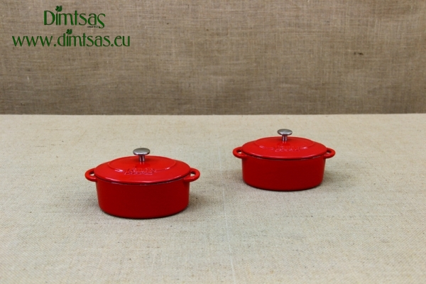 Enameled Cast Iron 10 oz. Oval Cocottes Set of 2 Red