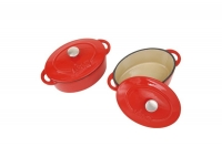 Enameled Cast Iron 10 oz. Oval Cocottes Set of 2 Red Seventh Depiction