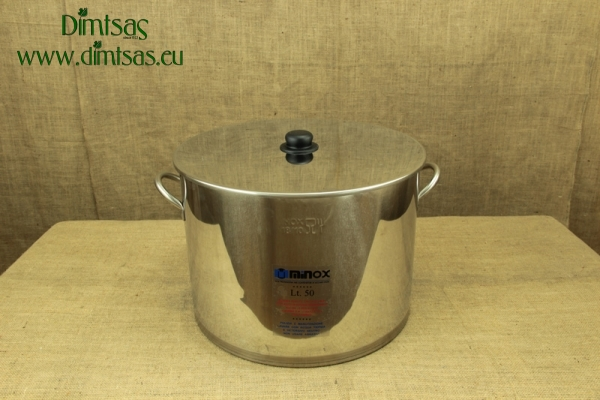 Stock Pot Stainless Steel 45x33 0.8 mm with Bottom 1.2 mm 50 lit