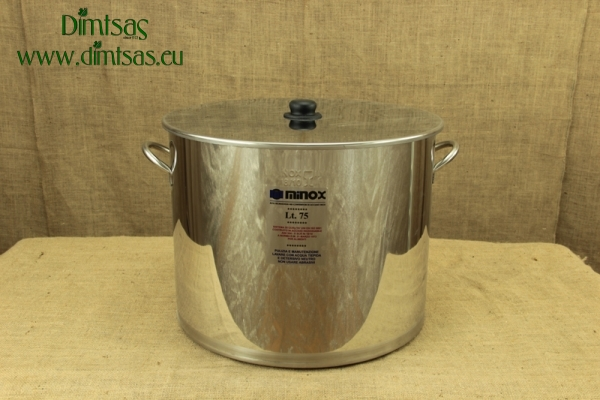 Stock Pot Stainless Steel 50x40 0.8 mm with Bottom 1.2 mm 75 lit