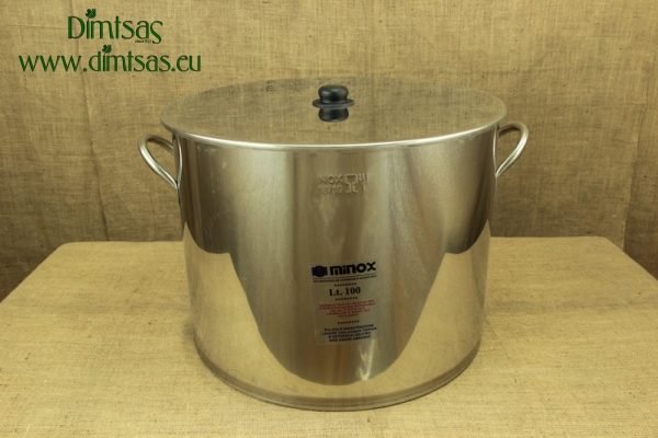 Stock Pot Stainless Steel 56x43 0.8 mm with Bottom 1.2 mm 100 lit