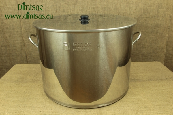 Stock Pot Stainless Steel 64x48 0.8 mm with Bottom 1.2 mm 150 lit