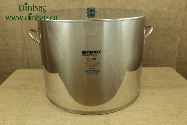 Stock Pot Stainless Steel 68x56 0.8 mm with Bottom 1.2 mm 200 lit