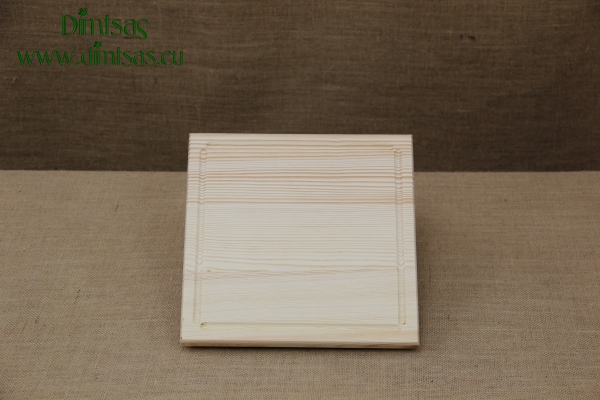 Wooden Cutting Surface - Wooden Serving Plate with Groove Square No1