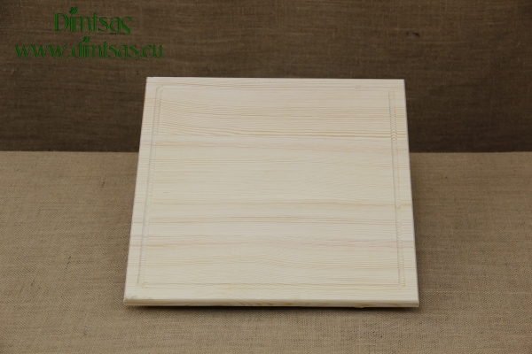 Wooden Cutting Surface - Wooden Serving Plate with Groove Square No3