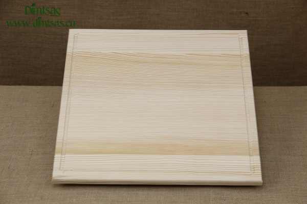 Wooden Cutting Surface - Wooden Serving Plate with Groove Square No4