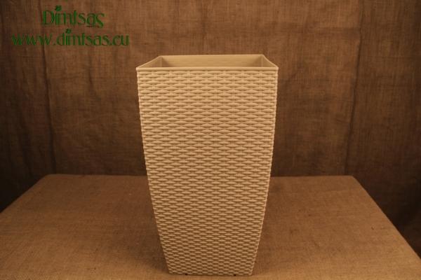Πλαστική Γλάστρα Αφροδίτη Ζαχαρί ή Beige Πλεκτή