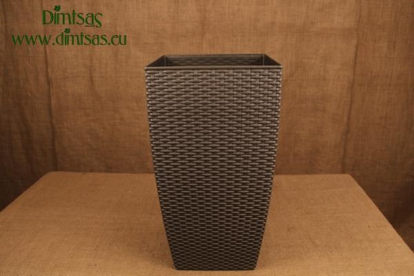 Πλαστική Γλάστρα Αφροδίτη Γκρι ή Metal Anthracite Πλεκτή