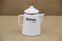 "Tea and Coffee Percolator ""Perkomax"" White First Depiction"