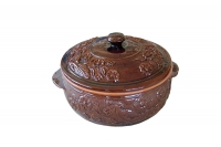 Clay Dutch Oven Curved 3 Liters Brown Nineteenth Depiction