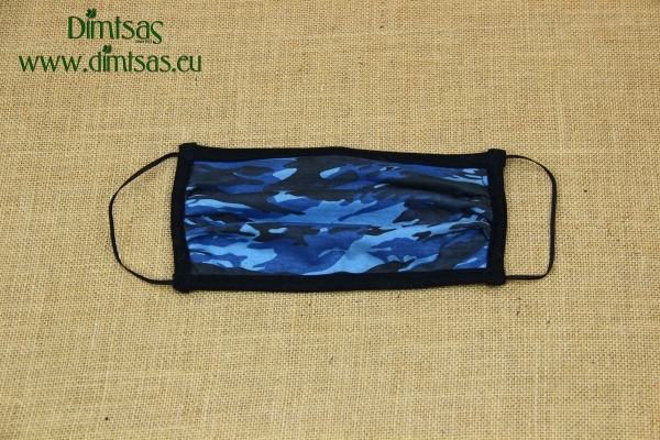 Face Mask Cotton Camouflage Blue